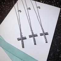 Hot Top Qualität Marke Modeschmuck Für Frauen Lange Kreuz Halskette AAAAA Zirkonia Stein Kreuz 20mm Anhänger Necklace46cm