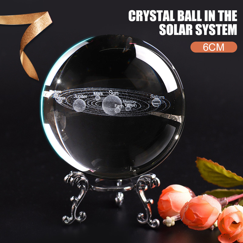 Glass Ball Laser Engraved Galactic System Ball Solar System Ball Home Decor Fashion Quartz Ball Planets Model 3D Creative