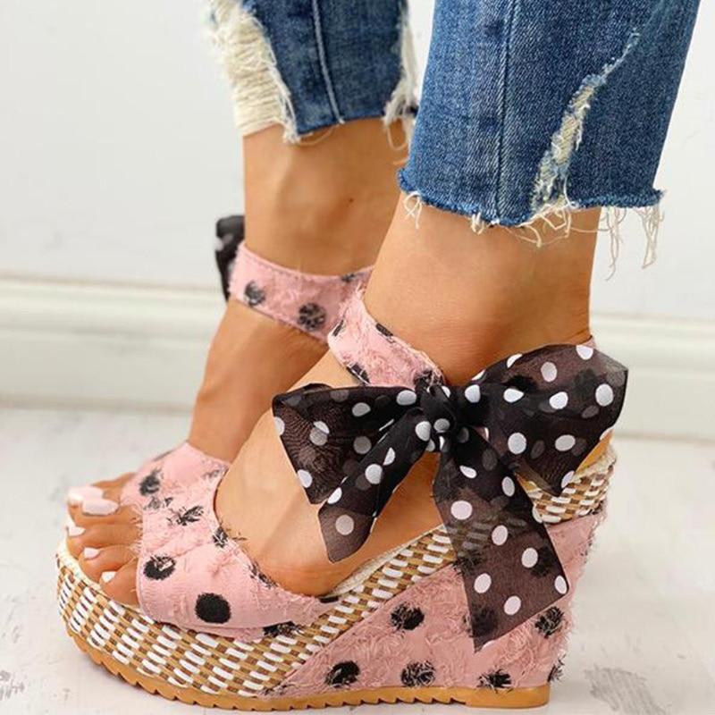 HTB1NpUfXMaH3KVjSZFpq6zhKpXa2 Women Sandals Dot Bowknot Design Platform Wedge Female Casual High Increas Shoes Ladies Fashion Ankle Strap Open Toe Sandals