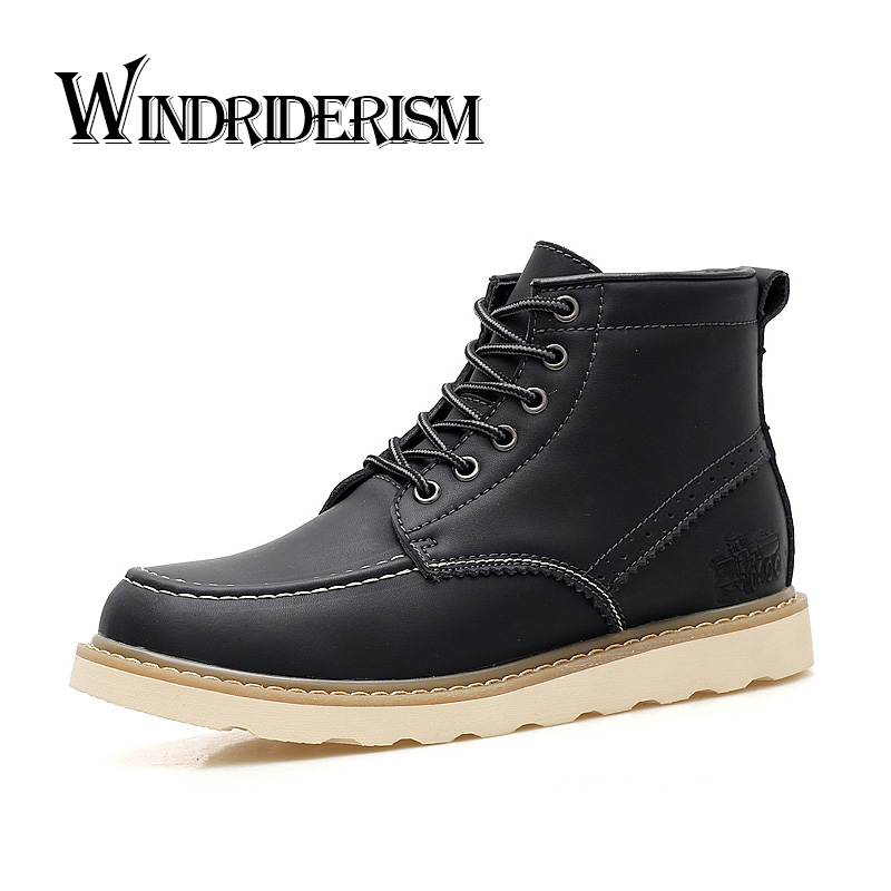 WINDRIDERISM Men Boots  New 2017 Leather Ankle Boots Mens Fashion Shoes Autumn Booties Waterproof Rain Boots  lozoga new men shoes fashion boots ankle 100