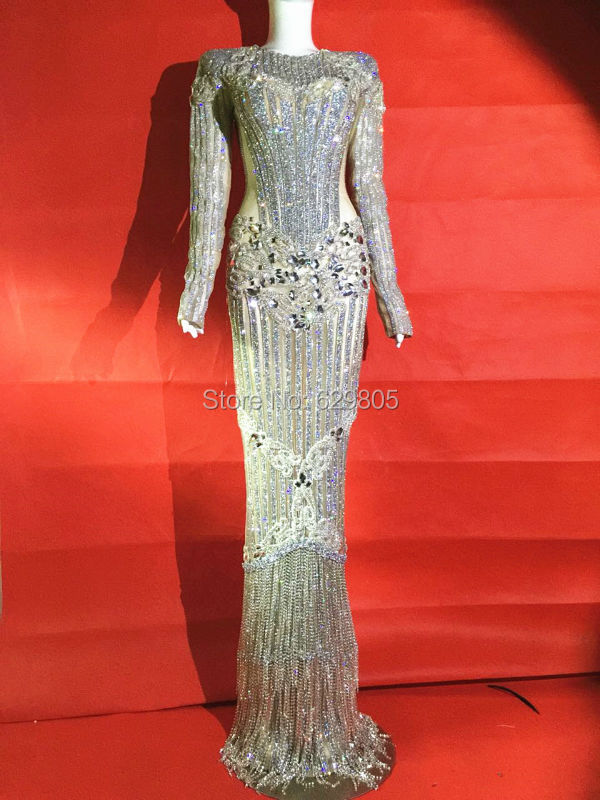 Luxury Glisten Silver Rhinestones Dress Flashing Sexy Stage Wear Long Dresses Full Crystals Costume Celebrate Outfit Dresses