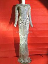 Vestido de lujo con diamantes de imitación plateados, Sexy, parpadeante, para escenario, vestidos largos, disfraz de cristales completos, vestidos de atuendo de celebración