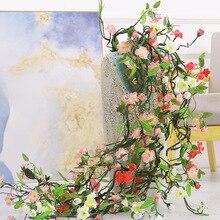 180cm Künstliche Blumen Vine Silk Pfirsich Blossom Girlanden Kirsche Zweig Blumen Für Hochzeit Home Hotel Dekoration Zubehör