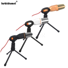 Stereo-Condenser-Microphone Wired Singing Karaoke with Kebidumei Holder-Clip for Chatting