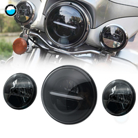 Newest 7 Inch Daymaker Harley LED Headlight with 4.5 Inch Fog Lamps For Harley Davidson Motorcycle Electra Glide Softail Fat Boy