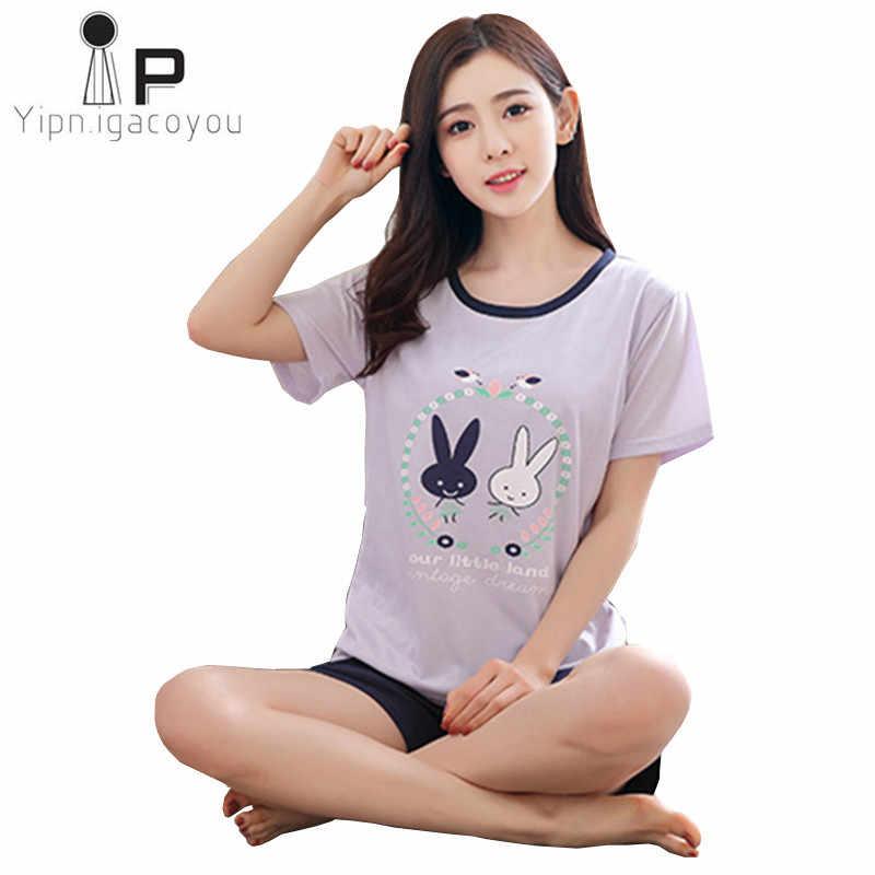 Home clothes women two piece 2018 Summer cotton nightwear Women pajama set  Plus size pyjamas female ddc40ea53