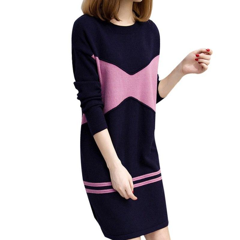 Women Autumn Winter Long Sleeve Plus Size Knit Slim O-neck Mini Dress Print Top Solid Color Dress