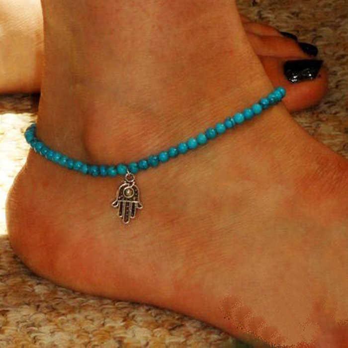 แฟชั่นข้อเท้า Boho ลูกปัด Hamsa Fatima Anklets เท้าเครื่องประดับชายหาด Lucky ดอกไม้สีฟ้าเท้าข้อเท้าสร้อยข้อมือ # T