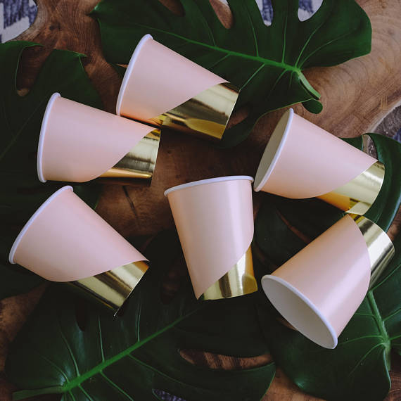 8pcs/pack 270ml Multiple styles Disposable environment-friendly pap cup for Baby Shower Wedding Birthday Hen party tableware