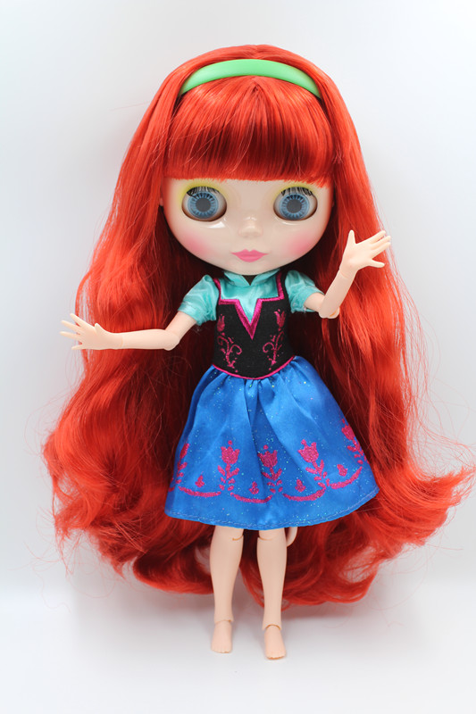 Blyth doll,Deep orange long curly hair,bangs, flesh white skin, naked doll, body has 19 joints, suitable as gift or collection fashion long curly hair wigs gold black