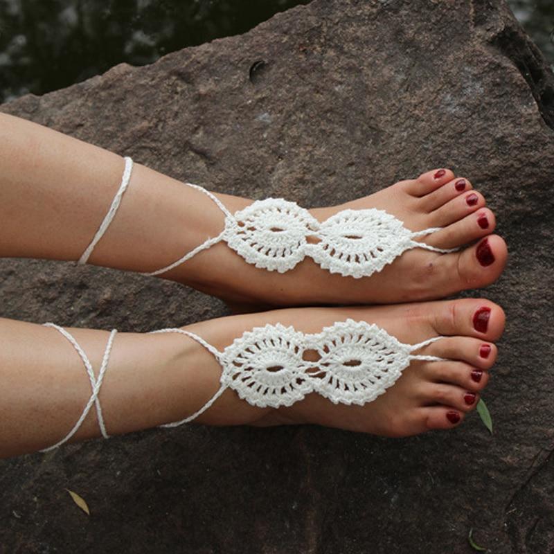 Bohemian Fashion Crochet Barefoot SandalsOpenwork Pattern Nude ShoesWomen Summer Beach Wedding Accessories Foot Toe Jewelry In Anklets From