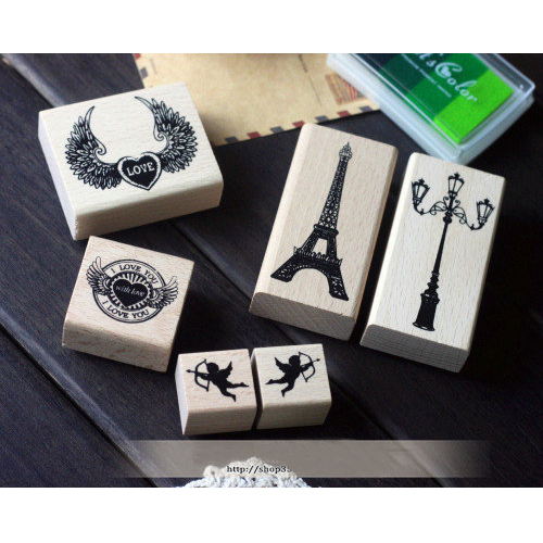 Retro European Eiffel Tower/Love Heart DIY Wood Stamp Diary Seal Decoration Scrapbooking Stamp Creative Stationery 6pcs SK784 japanese korea stationery portable mini roller secrecy stamp garbled seal graffiti seal teacher secrecy stamp