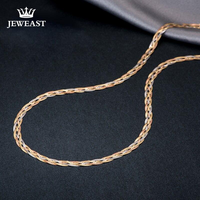 18 k or collier nouveau tissage large chaîne unisexe femmes hommes fille fête mariage bijoux à la mode offre spéciale 2017 nouveau bon réel 750 nice