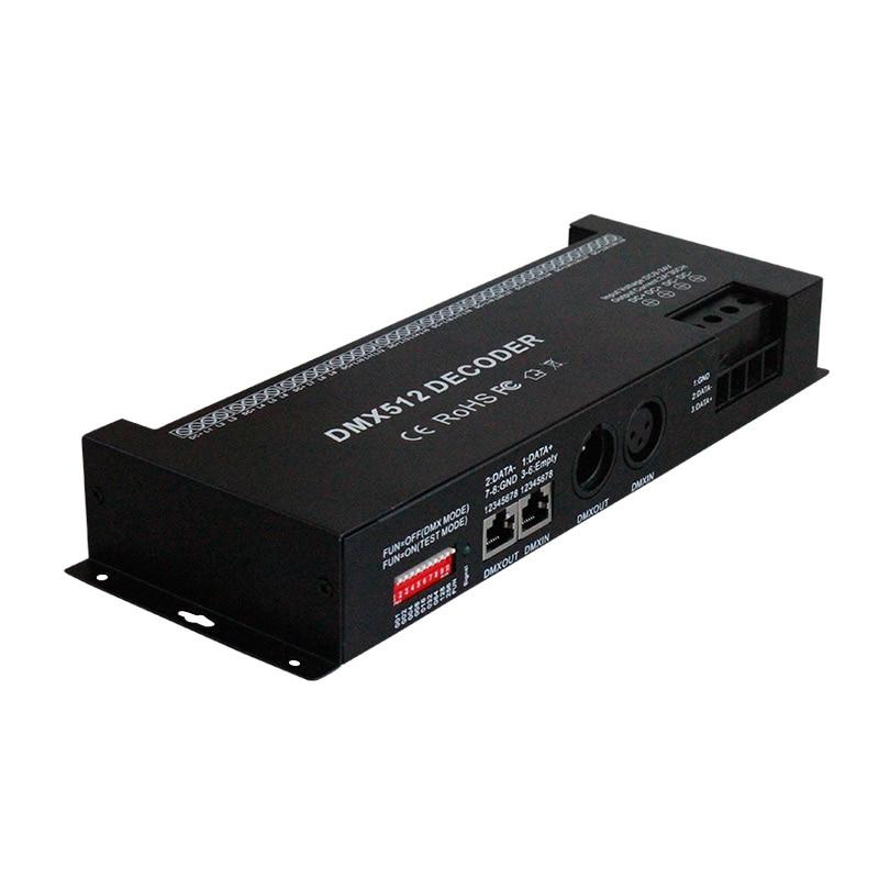 30 kanālu RGB dmx512 dekodētāja led sloksnes dxx kontrolieris 60A dmx dimmer PWM draivera ieeja DC12-24V 30CH dmx dekodētāja gaismas vadība