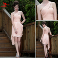 Best Selling Blush Pink One Shoulder Cocktail Dresses 2016 Summer Cheap Short Pleat Chiffon Backless Party Gowns Custom Made