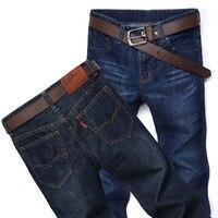 Men S Jeans Autumn Stretch Dark Blue Business Pants Men Casual Denim Jean Pants Slim Scratched