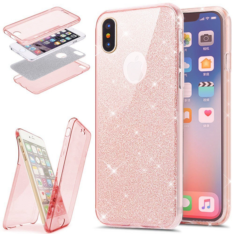 2 In 1 360 Full-Body Protection Glitter Slim TPU Coque Iphone 7 8 Plus 6 6S Plus X 10 Funda Double Face Protector Cover
