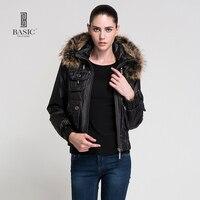BASIC 2015 Autumn Winter New Arrival Women Clothing Female Short Coat Hooded Fur Collar Down Jacket