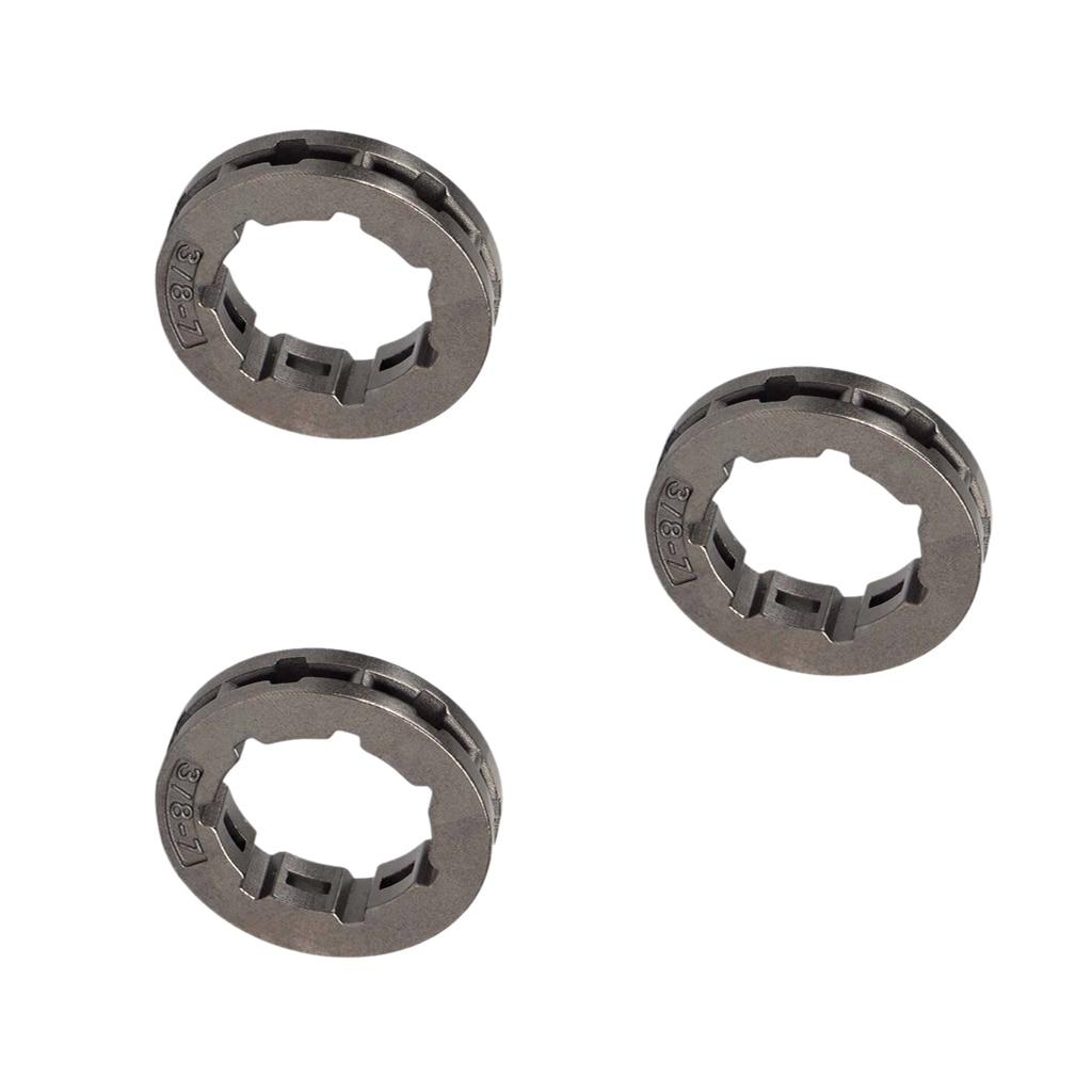 Pignon de jante dembrayage de chaîne de 3 pièces 3/8 pouces 7T pour le remplacement de STIHL de tronçonneuse