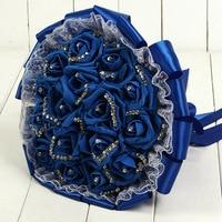 Romantic Lace Rose Bridesmaid Wedding Bouquet Foam Handmade Flowers Rose Crystals Bridal Bouquet with Ribbon Bouquet De Mariage