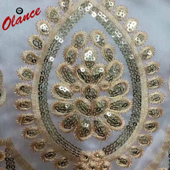 Noble Design Mysterious Royal Style Pattern with sunshine sequins george lace B8G23,Free shipping good quality Satin Lace Fabric