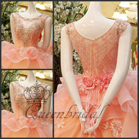 Real Photo Empire Scoop Tulle Crystal Lace 2015 Pink Wedding Dress Luxury China Dress Shop Queenbridal