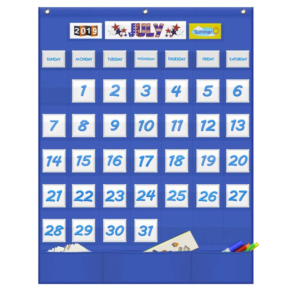 Godery Classroom Monthly Calendar Pocket Chart With 43 Clear Pocket, 3 Storage Pockets For Easy Wall Or Stand Chart