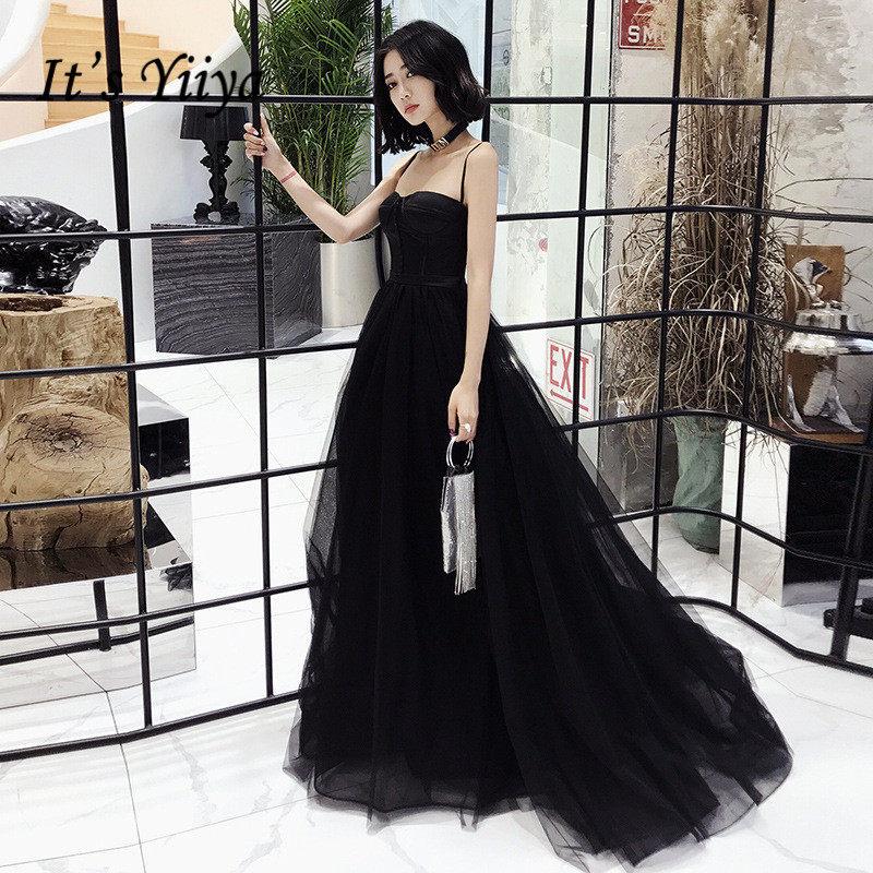 It's YiiYa Evening Dress Spaghetti Strap Sexy Black Formal Dresses Strapless Lace Up Train Elegant Tulle Party Gown E085