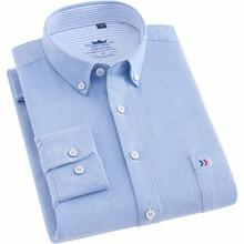 الرجال قميص قميص قطني بكم طويل منتظم صالح أكسفورد الأعمال السببية قمصان للرجال مع جيب الجبهة تتجه 2020 نوعية جيدة