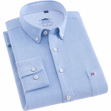 Männer Hemd Baumwolle langarm regelmäßige fit Oxford Business Kausalen Shirts für Männer mit Front Tasche Trend 2020 Gute Qualität