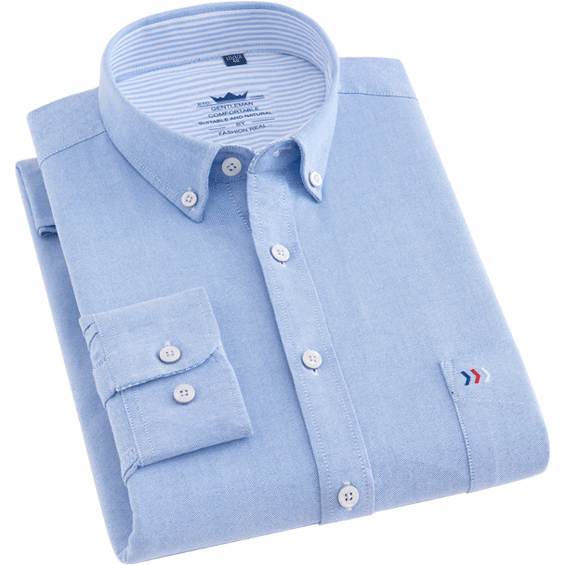 Quality Pure Cotton Oxford Plain Solid Men Shirts Fashion Button Collar Long Sleeve Comfortable Soft Regular Fit Casual Male Top