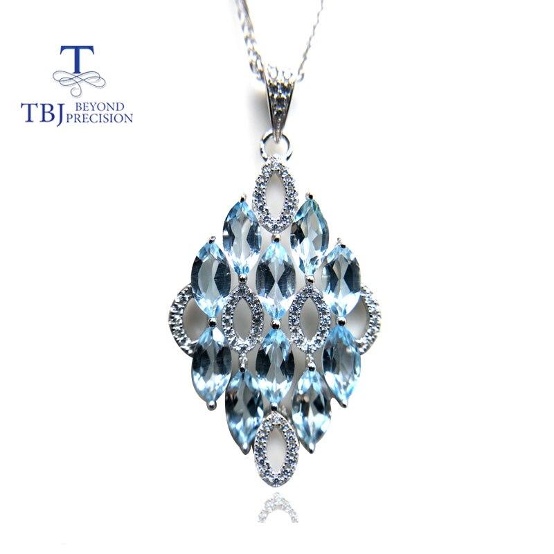 TBJ, 2018 NOUVEAU brillant 925 argent pendentif collier naturel 6.7ct ciel bleu topaze pierres précieuses pour les femmes de mariage d'anniversaire cadeau usage quotidien