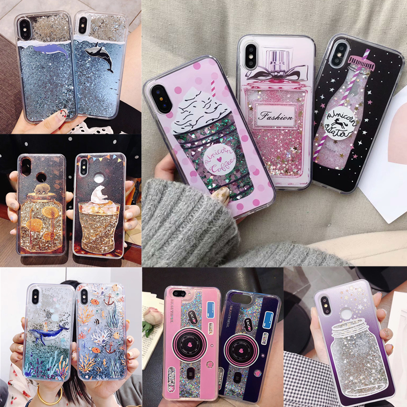 Red Wine Cup Dynamic Liquid Bling Glitter Quicksand Moving Star Cover For Huawei Y7 Prime 2018 Y7 Pro 2018 5.993d Cup Phone Case Attractive Fashion Half-wrapped Case Phone Bags & Cases