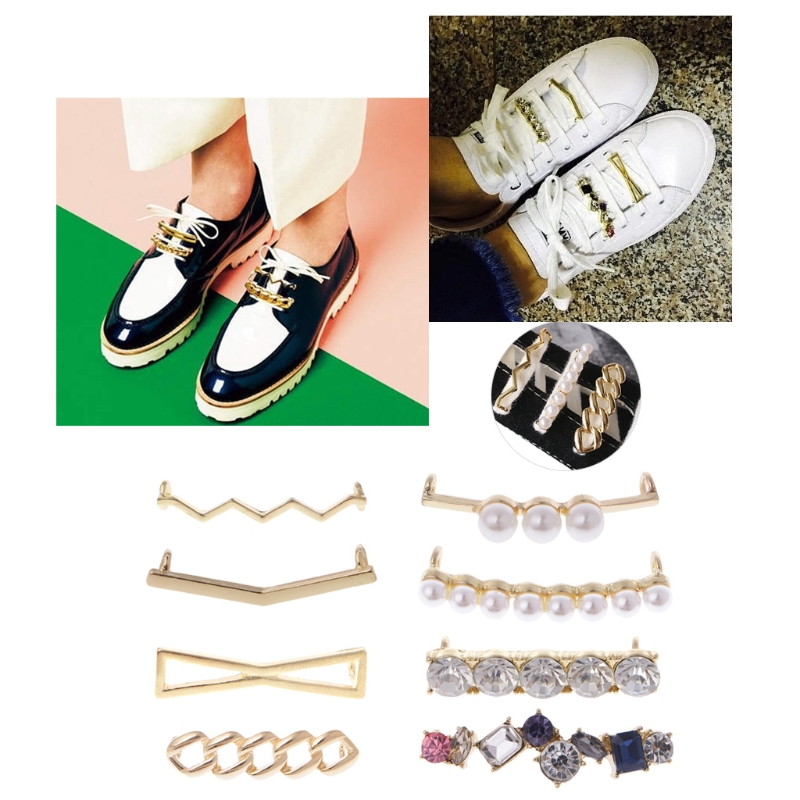 New Arrive Shoelaces Clips Decorations Charms Faux Pearl Rhinestone Shoes Accessories Gifts