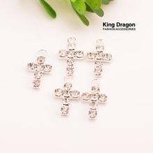 Кулон крест со стразами украшение используется на ремесле украшения 20 мм 20 шт./лот серебряный цвет KD283