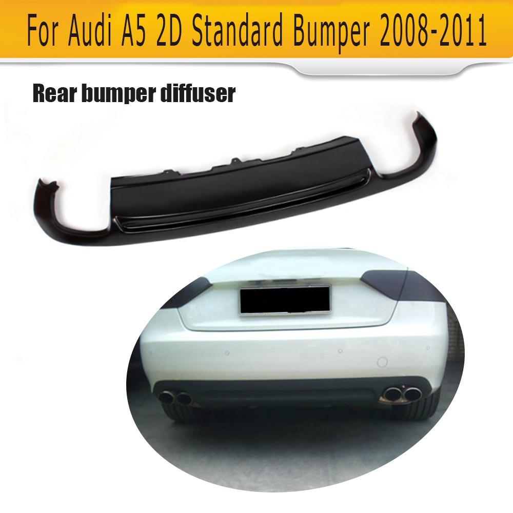 PU Rear Bumper Lip spoiler Diffuser For Audi A5 Standard 2008-2011 Coupe Sportback 4D Non-Sline Without Decoration S5 Style