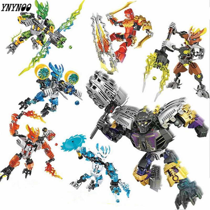 YNYNOO BIONICLE series XSZ 706 jungle Rock Water Earth Ice Fire protecto action Building Block  P073 цена
