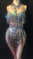 Colorful Fringes Rhinestones Bodysuit Women Stage Dance Costume Nightclub Dance Female Singer Show Bright Leotard Dress