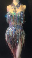 Colorful Fringes Rhinestones Bodysuit Women Stage Dance Costume Nightclub Dance Female Singer Show Bright Leotard Dress