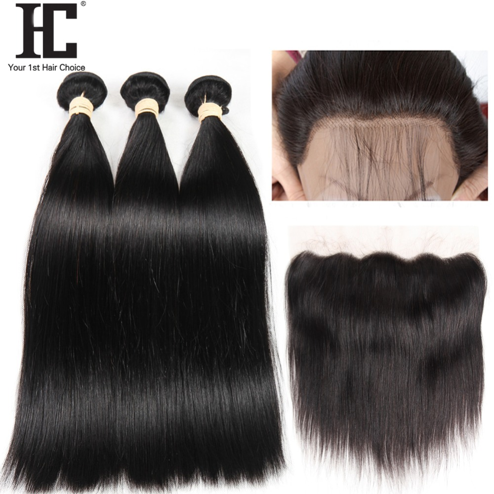 13X4 Lace Frontal Closure With Bundles Peruvian Straight Hair 3 Bundles With Frontal Non Remy Human Hair Weave With Closure HC