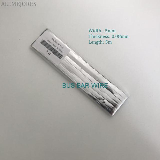 ALLMEJORES diy solar cell 5mm *0.08mm Busbar wire copper solder strip for Thin film solar panel 5m/Lot