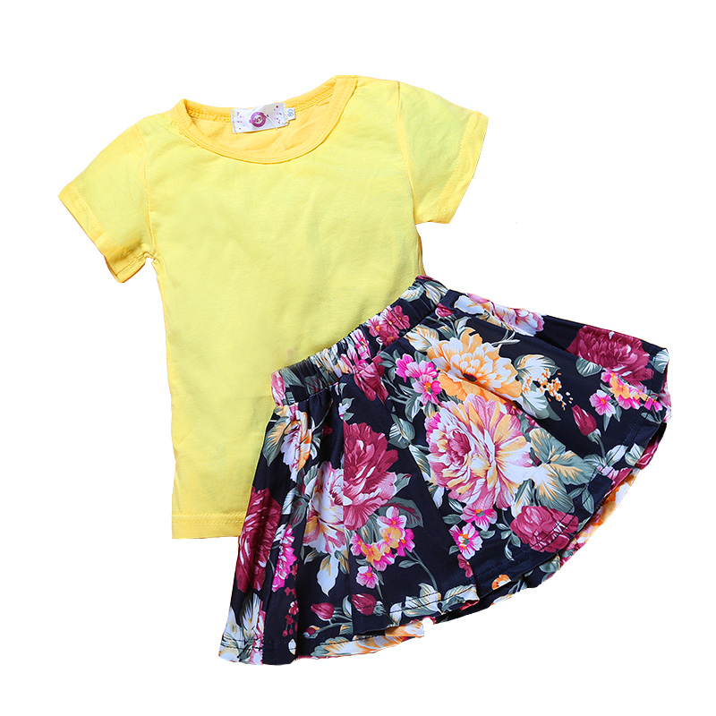 Casual Summer Kids Girls Clothing Sets Cotton Short Sleeve O-Neck Solid T-Shirt And Dresses Children Girl Clothes Skirts Suits