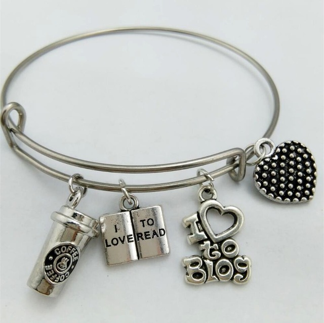 RAINXTAR 60mm 65mm Stainless Steel Expandable Wire Bangle With I Love To Read Coffee Cup I love to blog Charming Charms AAB014 image