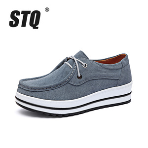 Image 2 - STQ 2020 Autumn Women Flats Female Leather Suede Platform Sneakers Shoes Women Lace Up Casual Flat Creepers Moccasins Shoes 526