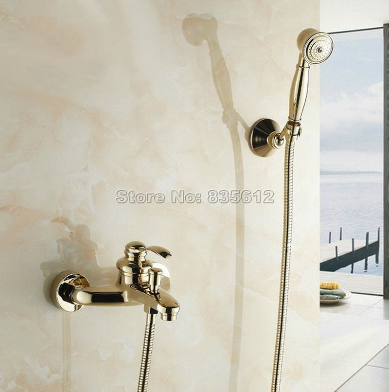 Gold Color Brass Finish New Wall Mounted shower faucet Bathroom Bathtub Handheld Shower Tap Mixer Wtf401 thermostatic bathroom shower faucet solid brass bathtub mixer tap chrome finish wall mounted