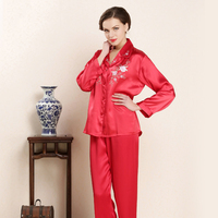 CEARPION Asian Bride Wedding Party Night Wear Chinese Traditional Embroidery Flower Pajamas Women Casual Daily Home Clothes