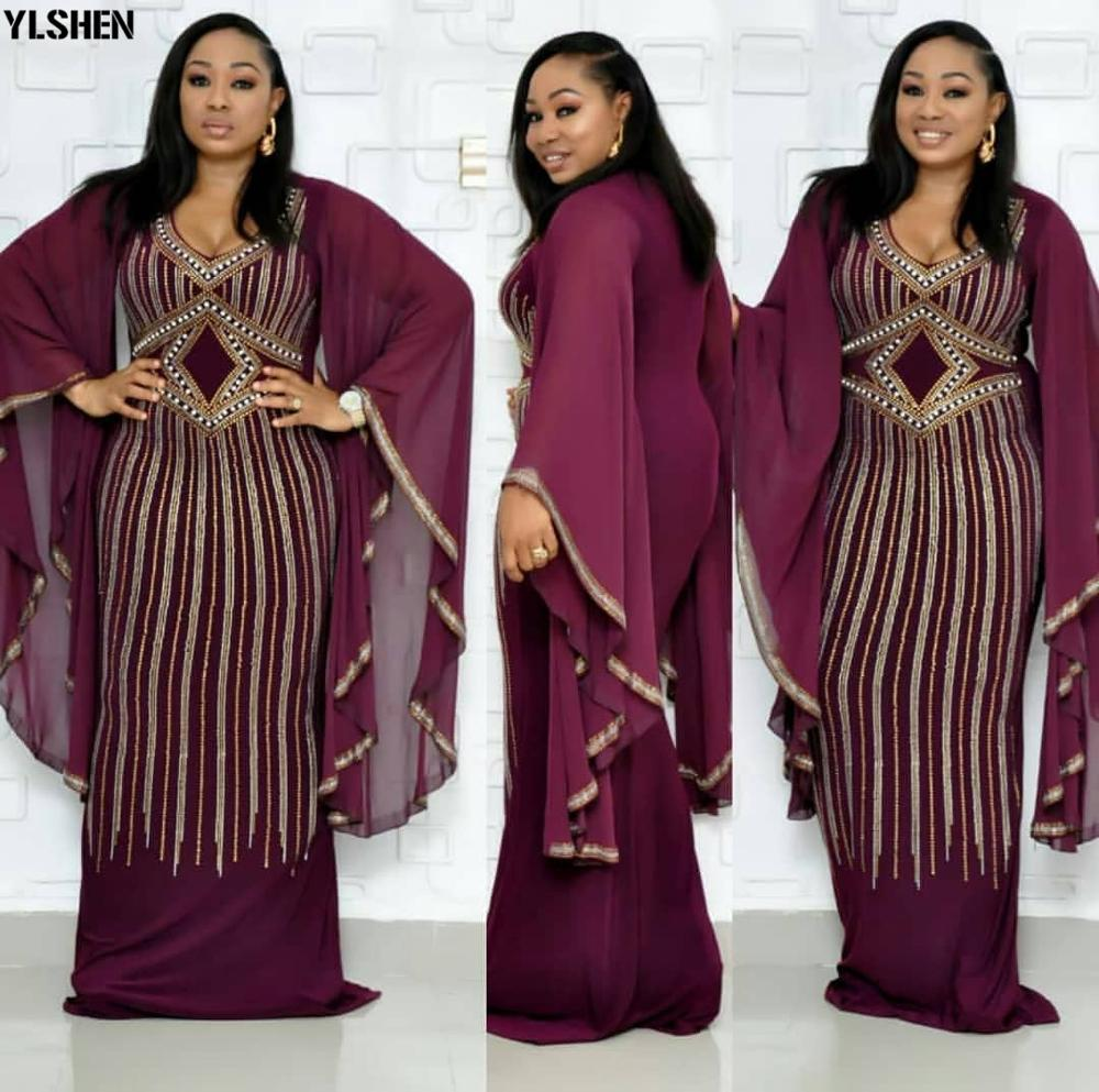 African Dresses For Women Dashiki Diamond African Clothes Bazin Broder Riche Sexy Slim Ruffle Sleeve Robe Evening Long Dress(China)