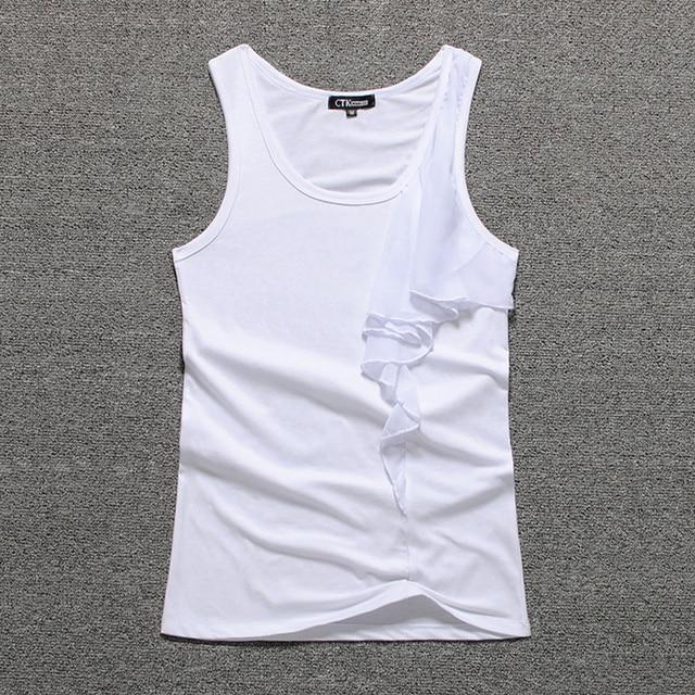 Fashion Lotus leaf Solid color O neck Tank top Women 95% Cotton kids singlet top girls sexy elegant Summer undershirt