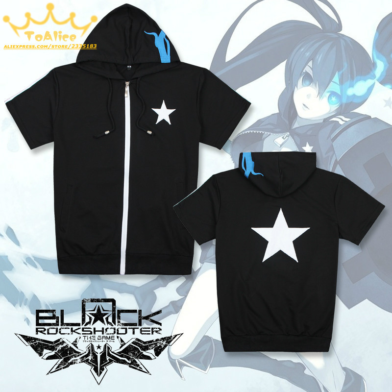 Anime Black Rock Shooter Cosplay Costume Short Sleeve Hooded ...