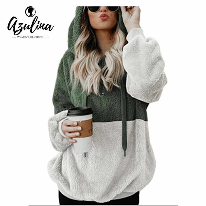 AZULINA Color Block Fuzzy Hoodie Women Pullover Autumn Hooded Long Sleeve  Sweatshirts Hoodies Casual Sweatshirt Ladies 637347d94